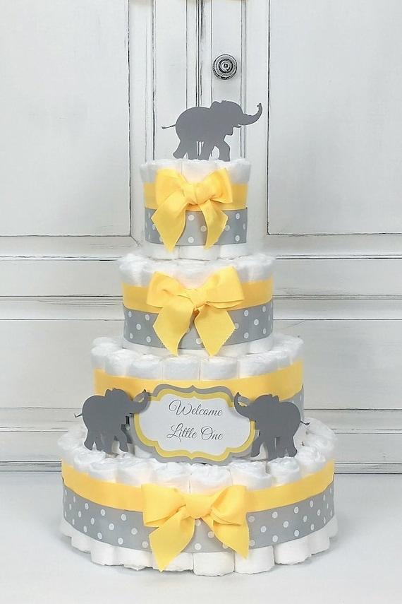 Diaper Cake Boy Girl Neutral Diaper Cake Yellow Elephant Diaper Cake Baby Shower Decor Yellow Centerpiece Baby Diaper Cake