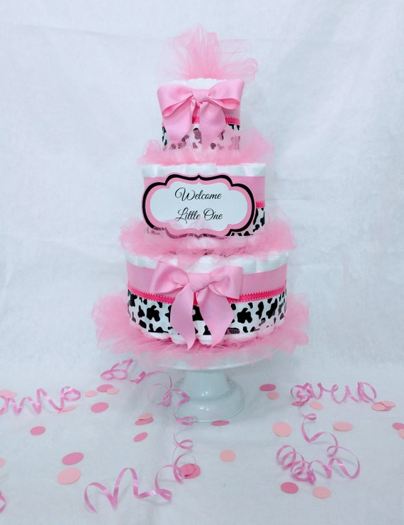 Cow Diaper Cake Girl, Pink Cow Print Diaper Cake, Cow Baby Shower Decoration, Girl Gift, Cow Print Diaper Cake, Barnyard Baby Shower,