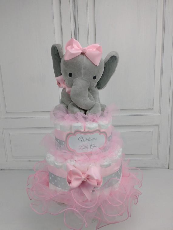 Pink and Gray Elephant Diaper Cake, Girl Diaper Cake, Elephant Baby Shower Decor, Pink Tutu Centerpiece, Pink Baby Shower Decor, Baby Gift