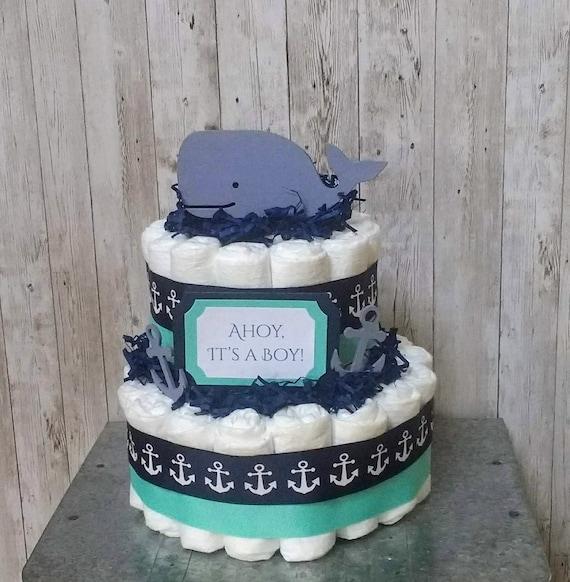 Whale Diaper Cake Boy, Anchor Diaper Cake, Nautical Baby Shower Decor, Ahoy It's A Boy! Nautical Centerpiece, Whale Baby Diaper Cake