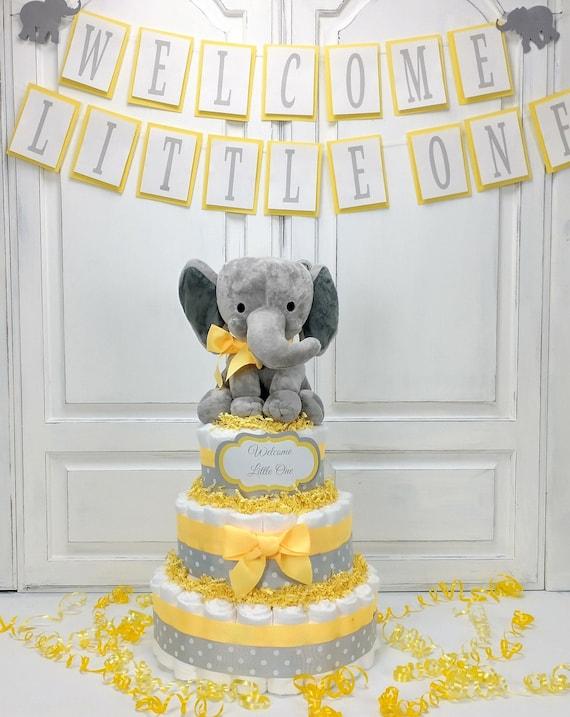 Yellow Elephant Diaper Cake, Neutral Yellow Elephant Baby Shower Decoration, Centerpiece for Boy or Girl, Elephant Diaper Cake,  Baby Gift