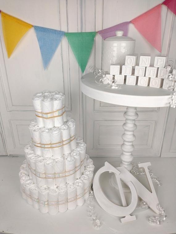 Undecorated Diaper Cake, Plain Diaper Cake, 4 Tier Baby Diaper Cake, DIY Baby Shower Decor, Baby Shower Centerpiece, Baby Diaper Cake