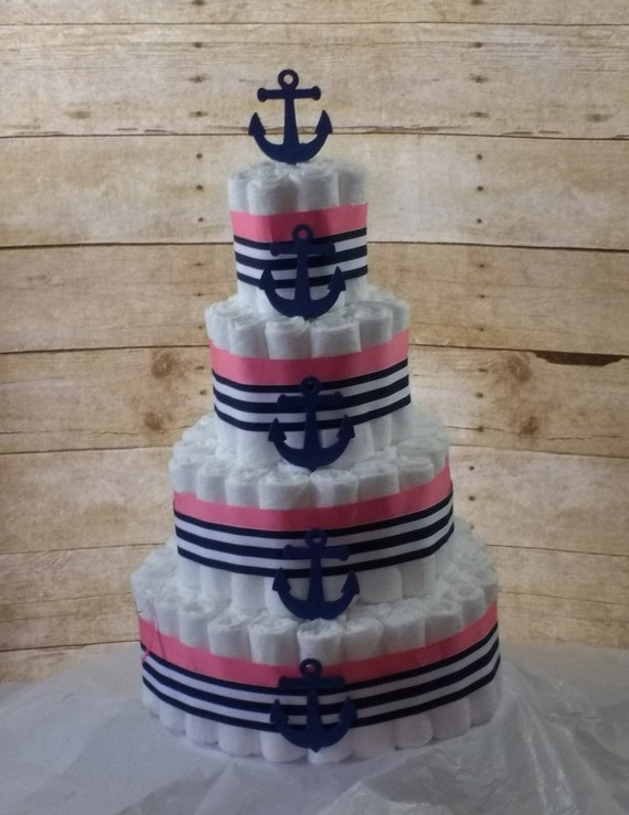 Neutral Diaper Cake, Nautical Baby Shower Decoration, Pink Navy Anchor Diaper Cake, Diaper Cake Girl or Boy, 3 Tier Nautical Diaper Cake