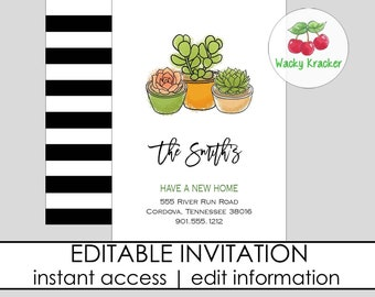 Key Invitation  Moving Announcement  We/'ve Moved Again  INSTANT DOWNLOAD EDITABLE Template