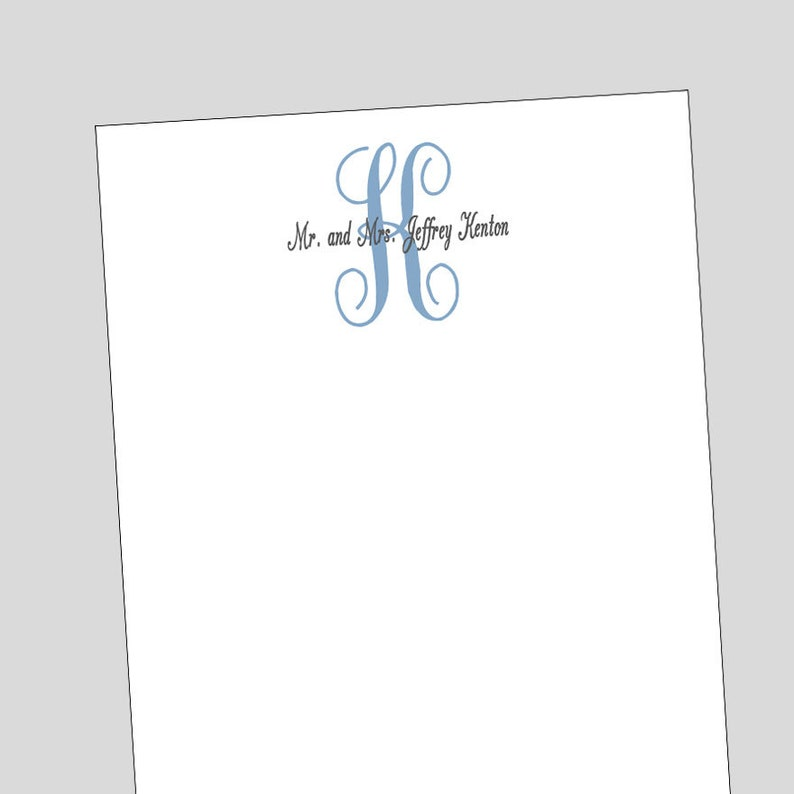 Formal Monogram Notepad  Traditional Monogram Gift  Husband and Wife Stationery  Notepads come in 3 Sizes