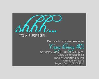 Shhh Surprise Birthday Invitations Printable Digital File