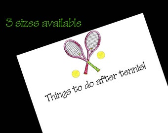 Tennis Notepad, Queen of the Court Tennis Gift, Tennis Tournament Prize, Stationery Gift