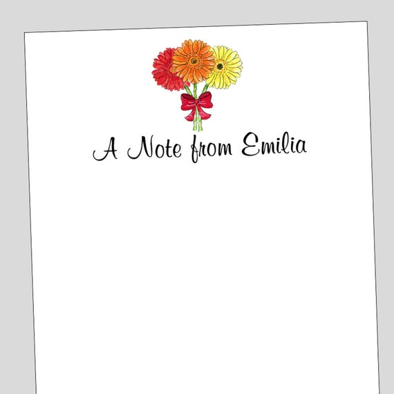 3 different sizes Gerber Daisy Notepad Personalized Stationery Daisy Paper