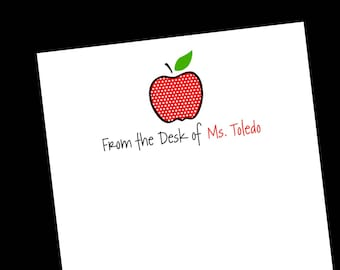 Personalized Red Polka Dot Apple Notepad ~ Teacher Gift ~ 3 Sizes