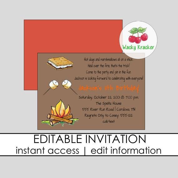 campfire birthday invitations bonfire invite s mores etsy
