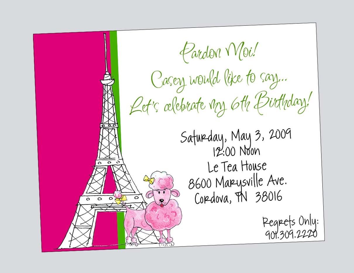 Pink Poodle Birthday Invitation Printable Paris Eiffel Tower | Etsy