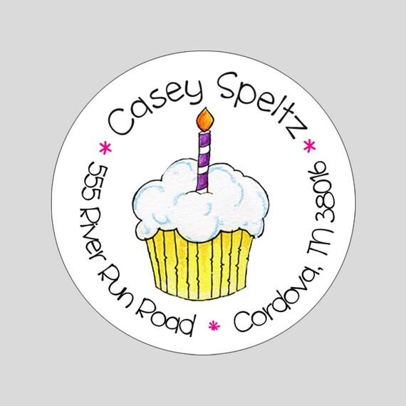 Cupcake Party Cupcake Return Address Labels Custom Address Label Stickers 60 Labels Kids Address Labels Pink Cupcake Address Label
