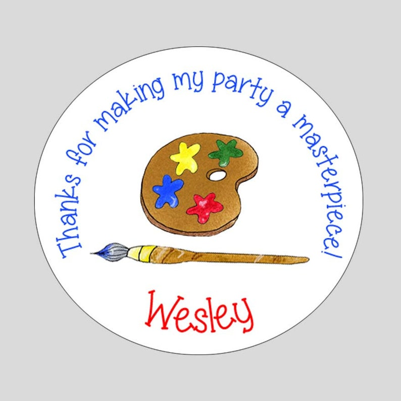 Art or Painting Circle Address Labels  Party Favor Gift Tags Stickers