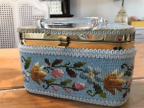 Amazing needlepoint Julius Resnick box purse with