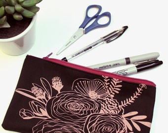 Pencil Case - Black Floral