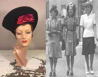 c3a0c08be2e5a Entertaining The Limitless - Vintage WW2 1940s Black Felt Nautilus Halo  Tall Tower Hat w Hot Pink Silk Rose