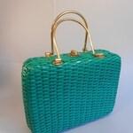 ON SALE 30% OFF Vacation Bound - Vtg 1950s Bright Kelly Green Plastic Wicker Large Handbag Purse w/Brass Handles