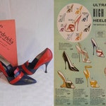 Skyrocketing - Vintage 1960s NOS Fredrick's of Hollywood Red & Navy Stiletto Pointed High Heels  - 7