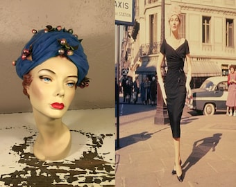 ffc56945db9 Model de Paris - Vintage Late 1950s Early 1960s Christian Dior Cornflower  Blue Netting Beehive LampShade Hat