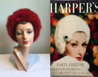 Christmas Presents.... - Vintage 1960s Apple Red Rabbit Fur Cossack Furry Hat