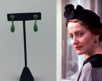 Ever Watchful Ms Lemon - Vintage 1930s 1940s Fern Green Lucite Drop Screw Back Earrings