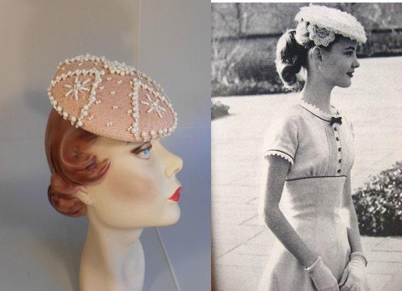 Vintage 1950s Patrice Pale Pink & White Bead Beret