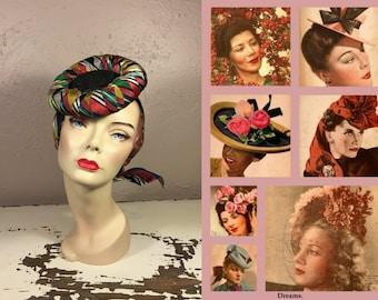Summer Ruffles My Mood - Vintage WW2 1940s Multi-Colour Rayon Ribbon Mini Straw Doll Tie Hat