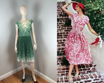 Looking Over That 4 Leaf Clover - Vintage 1950s Green Double Light Cotton Shamrock Floral Pleat Dress - 14
