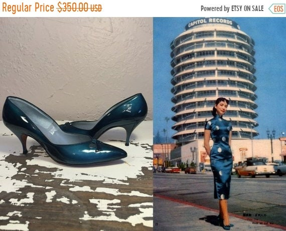 Vacances sur vente 25 % de rabais sur Vacances mon Blues de Shanghai -  Vintage des années 1950 Teal bleu dégradé vinyle cuir verni talons  chaussures couleur ... 409d404e71e2