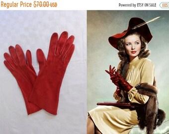 Bi-Annual Sale 35% Off The Shanghai Gesture - Vintage 1940s Lipstick Siren Red Nubuck Leather Gloves - 6/6.5