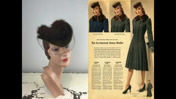 She Was a Dutch Baby - Vintage 1940s Moss Green Wo