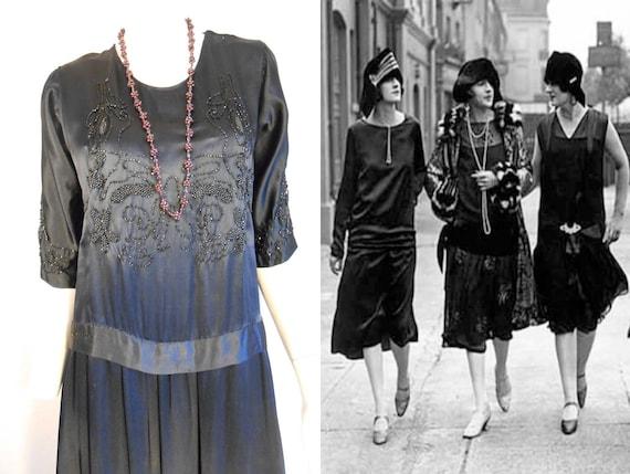 Prohibition Blues - Vintage 1920s Black Silk & Jet