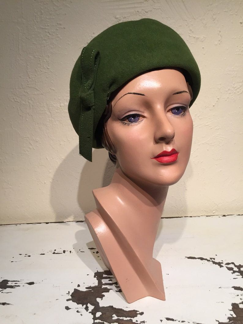 Vintage Late 1950s 1960s Olive Green Velour Cloche Hat BI-ANNUAL SALE 25/% Off She Was a Woman in the Work Force