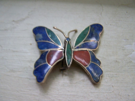 Huge Antique Sterling Silver Articulated Butterfly