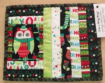 Owl Christmas Mug Rug