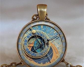 Prague Astronomical Clock pendant, Orloj necklace, Steampunk jewelry, Steampunk astrology necklace keychain key chain key ring key fob