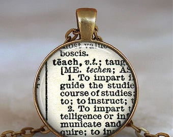 "Teach dictionary necklace, ""Teach"" dictionary pendant teacher's gift dictionary word jewelry gift for teacher key chain key ring key fob"