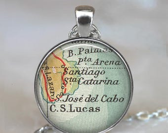 Cabo San Lucas map pendant, San Jose del Cabo map necklace Los Cabos Baja California destination wedding gifts key chain key ring key fob