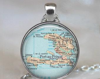 Haiti map necklace, Haiti pendant map jewelry adoption pendant adoption jewelry Haiti necklace key chain key ring key fob