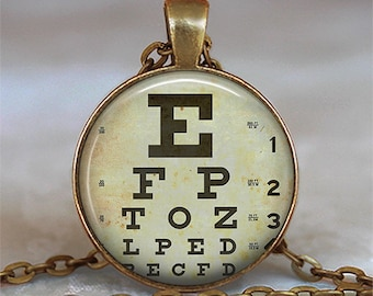 Optometry Ophthalmology Eye Chart Snellen Chart Necklace Pick your Bead Colors