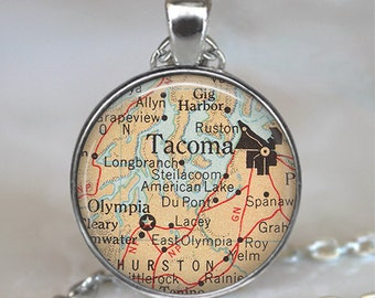 Tacoma map pendant, Tacoma pendant, Tacoma map necklace, map jewelry, Olympia map pendant key chain key ring key fob