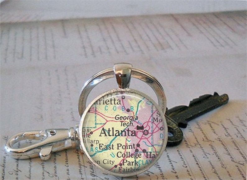 Georgia Tech key chain or necklace Georgia Institute of Technology map graduation gift student alumni gift keychain key ring fob