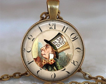 Steampunk Mad Hatter necklace, Map Hatter pendant Steampunk jewelry Alice jewelry Wonderland necklace key chain key ring key fob keychain