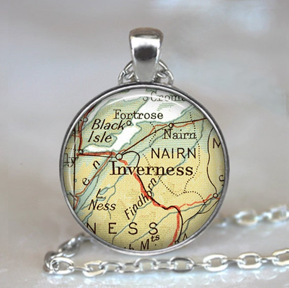 Findhorn Scotland Map.Inverness Scotland Necklace Highlands Map Necklace Nairn Etsy