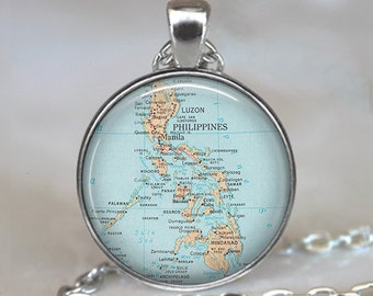 Philippine Islands map pendant, Philippines map necklace, Philippine necklace, Philippine pendant map jewelry keychain