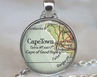 Cape Town map pendant, Cape Town pendant, Cape Town necklace, South Africa map jewelry, Cape Town keychain key chain key ring key fob