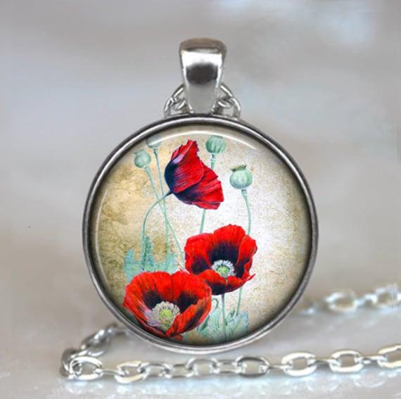 Remembrance day Gift Red POPPY Flower Memory Locket Necklace Keyring Bracelet