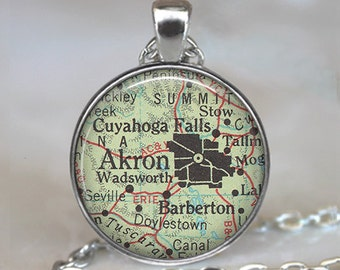 Akron, Ohio map pendant, Akron map pendant, Akron map necklace map jewelry Barberton Cuyahoga Falls map necklace key chain key ring key fob