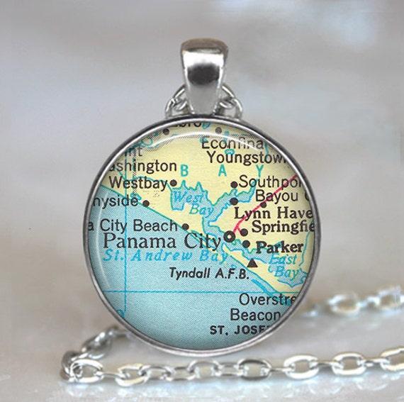Panama City Florida Map Necklace Panama City Pendant Etsy