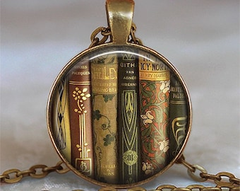 Antique Books necklace, book shelf pendant book jewelry librarian gift teacher's gift book club gift book pendant key chain key ring key fob